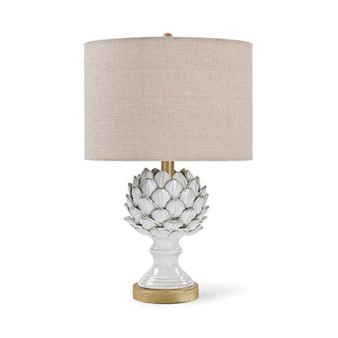 Regina Andrew Leafy Artichoke Ceramic 3-Way 100 Watt Max White/Natural and Steel 1 Socket - Decorative Table Lamp