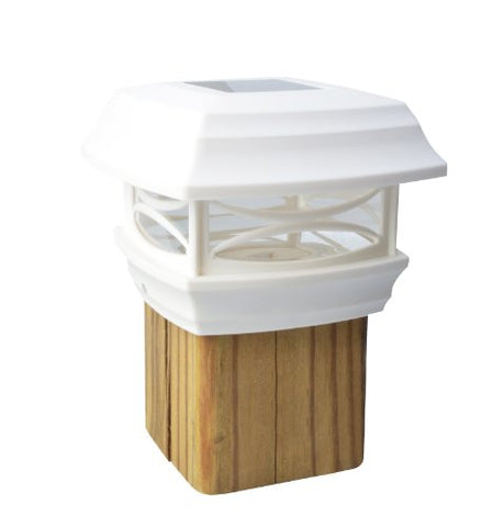 Moonrays 91254 Solar LED Post Cap Light, Fits Standard  4-inch x 4-inch  Wooden Posts, Plastic, WHITE