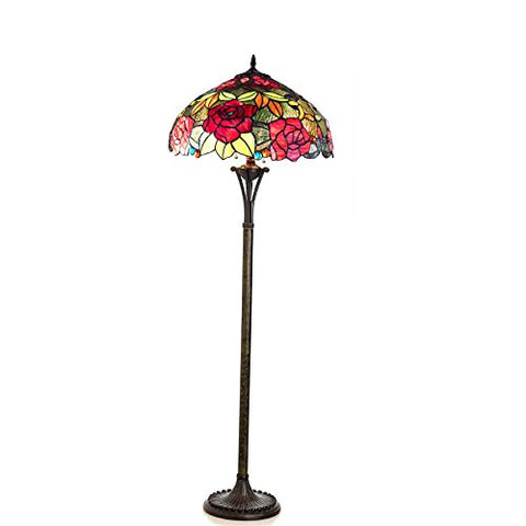 "Chloe Lighting CH18790RF18-FL2 Peggy Tiffany-Style Roses Floor Lamp with 18"" Shade - llightsdaddy - Chloe Lighting - Lamp Shades"