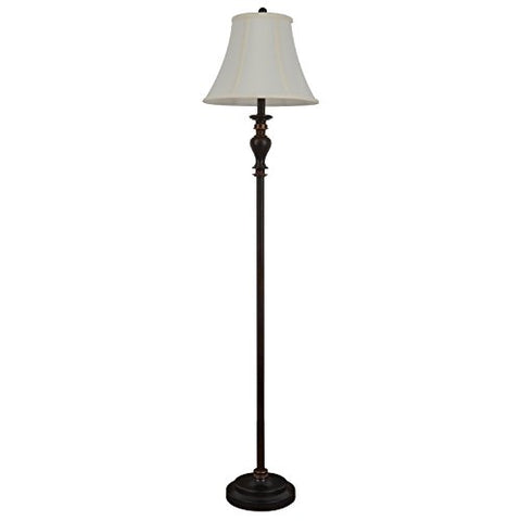 "decorTherapy PL1644 61.5"" Walnut Ridge Brass Floor Lamp, 61.5"" x 14"" x 14"", Brass - llightsdaddy - decorTherapy - Lamp Shades"