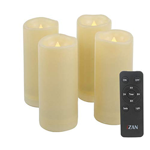 "iZAN 4 Pack Flameless Battery Operated LED Pillar Candles with Remote Outdoor Waterproof Flickering Decorative Lights for Halloween Christmas Home Kitchen D├ęcor Wedding Party Event Decorations 2""x5"" - llightsdaddy - Jingtech - Flameless Candles"