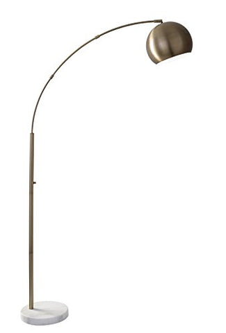 "Adesso 5170-21 Astoria Modern Chic Arc Lamp, Smart Outlet Compatible, 42"" x 12"" x 78"", Antique Brass - llightsdaddy - Adesso - Lamp Shades"