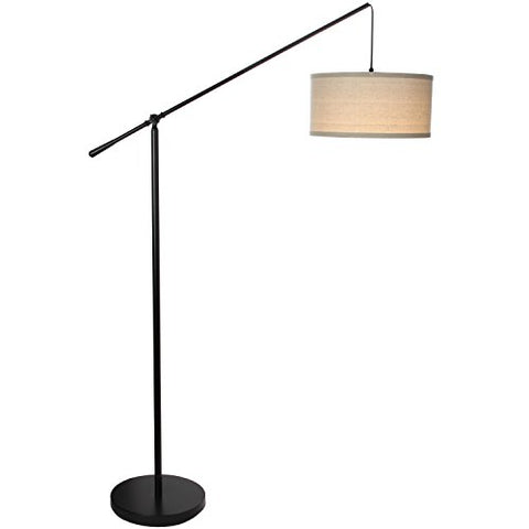 Brightech Hudson 2 - Living Room LED Arc Floor Lamp for Behind The Couch - Pole Hanging Light to Stand up Over The Sofa - with LED Bulb- Jet Black - llightsdaddy - Brightech - Lamp Shades