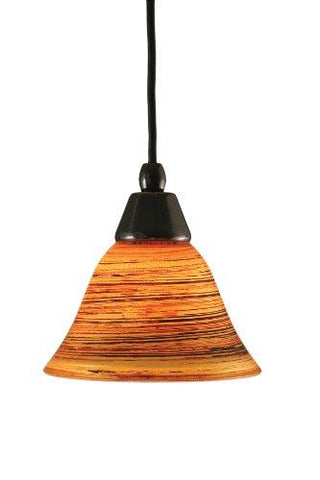 Toltec Lighting 22-BC-454 Cord Mini-Pendant Light Black Copper Finish with Firré Saturn Glass, 7-Inch - llightsdaddy - Express Lighting - Low Voltage Transformers
