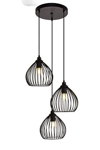 16 in. 3-Light Pendant in Black