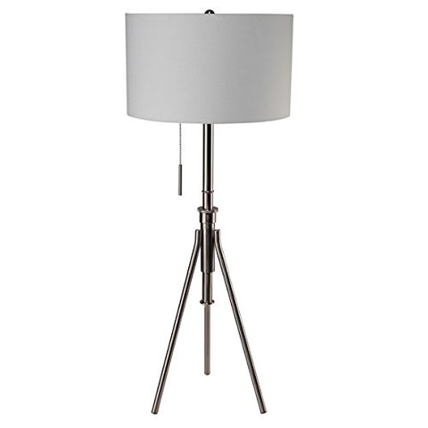 Q-Max Adjustable Brushed Steel Tripod Floor Lamp - llightsdaddy - Generic - Lamp Shades