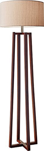 Adesso Quinn Floor Lamp - Free Standing Lamp - 60 In. Walnut Wood Finished Pole Lamp. Decorative Lighting Fixtures - llightsdaddy - Adesso - Outdoor Floor Lamps