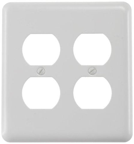 Amerelle Devon Double Duplex Steel Wallplate in White - llightsdaddy - AMERELLE - Lightning Fixtures