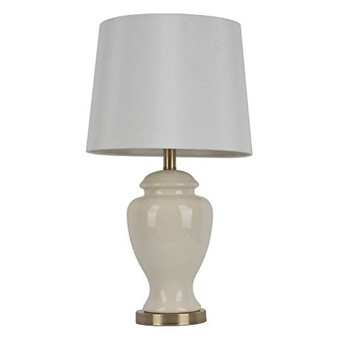 "decor Therapy TL7911 24"" Ceramic Table Lamp, Cream Finish"