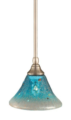 Toltec Lighting 23-BN-458 Stem Mini-Pendant Light Brushed Nickel Finish with Teal Crystal Glass, 7-Inch