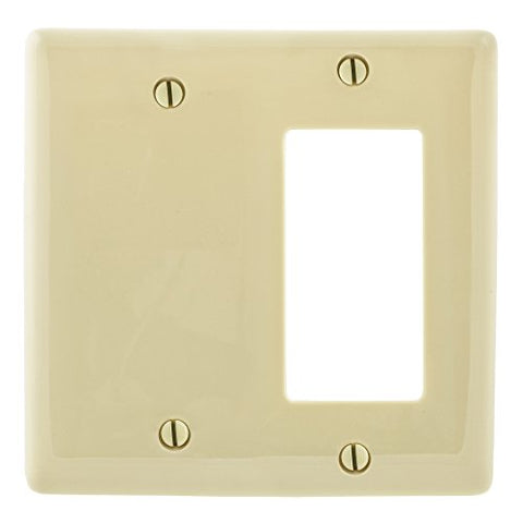 Bryant Electric NPJ1326I Wallplate, Nylon, Mid-Sized, 2-Gang, 1 Decorator/GFCI, 1 Blank, Ivory - llightsdaddy - Bryant Electric - Lamp Post Mounts
