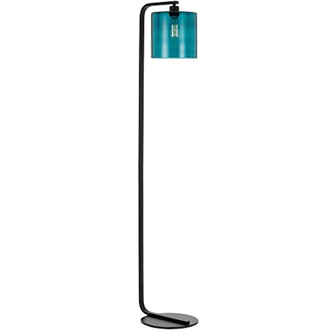 AF Lighting 9116-FL Lowell Lamp with Teal Glass Globe, Floor, Black