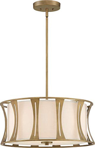 Quoizel QP5187EY Woodmere Linen Fabric Drum Pendant Ceiling Light, 4-Light 240 Watts, Egyptian Gold