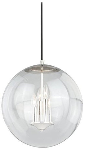 "Vaxcel P0124 630 Series Pendant with Clear Glass, 15-3/4"", Polished Nickel Finish - llightsdaddy - Vaxcel - Pendant Lights"