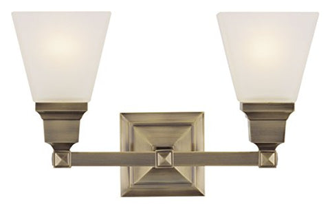 livex lighting 1032-01 mission 2-light bath light, antique brass