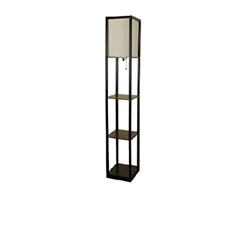 Mainstays Shelf Floor Lamp with Off White Shade, Black - llightsdaddy - Mainstay - Lamps