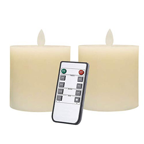 Only-us Flameless Candles Set of 2 (3x3 inch) Flickering  LED Candles Battery Operated with Remote Control Timers for Fireplace Bedroom Livingroom Party Dimmable Ivory Pillars Flat top - llightsdaddy - Only-us - Flameless Candles