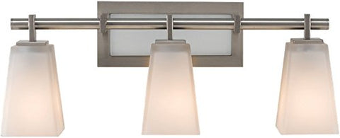 "Feiss VS16603-BS Clayton Glass Wall Vanity Bath Lighting, Satin Nickel, 3-Light (22""W x 9""H) 300watts"