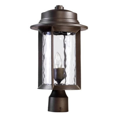Quorum 7248-9-86 Charter - One Light Outdoor Post Lantern, Oiled Bronze Finish with Clear Hammered Glass