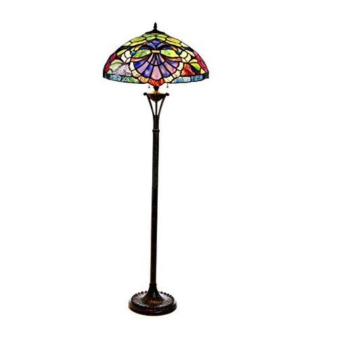 "Chloe CH18982GV18-FL2 2 Light Baroque/Roses 18"" Shade Hannah Tiffany-Style Floor Lamp, 64 x 18 x 18, Bronze"