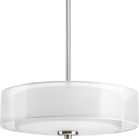 Progress Lighting P3694-09 Invite 3-Lt. Semi-Flush Convertible with White silk mylar shade