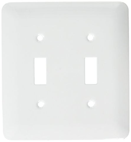 Morris 83662 Painted Steel Wall Plate, Princess Midsize Toggle Switch, 2 Gang, White