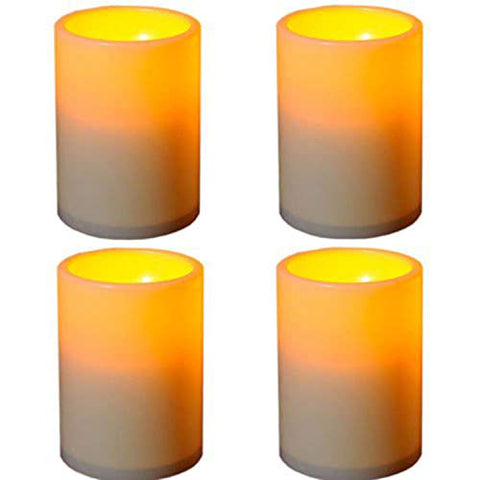 Battery Powered LED Unscented Flameless Candle Waterproof Flickering Candle Light with Timer 3X4 Inches 4 Pack - llightsdaddy - Angelloong - Flameless Candles