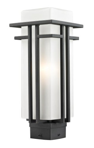 Z-Lite 549PHM-BK Outdoor Post Light with Matte Opal Shade, Glass - llightsdaddy - Z-Lite - Post Lights
