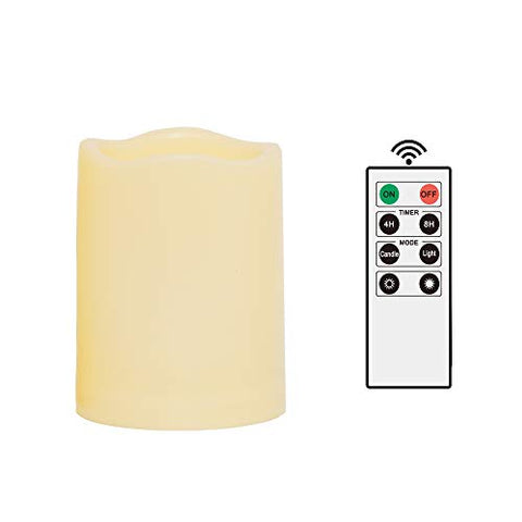"iZAN 1PCS Outdoor Flameless Battery Operated Candles with Remote and Timer Waterproof Flickering Electric LED Pillar Candle Lights for Halloween Christmas Home Wedding Party Festival D├ęcor 3""x4"" - llightsdaddy - iZAN - Flameless Candles"