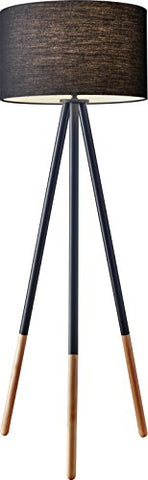 "Adesso 6285-01 Louise Floor Lamp, Black, Smart Outlet Compatible, 60.25"" - llightsdaddy - Adesso - Lamps"