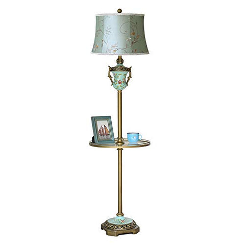 Wshfor European Style Vintage Trophy Floor lamp E27 Brushed Gold Bronze Vertical Living Room Bedroom Reading Light,Blue Embroidery Print Shade - llightsdaddy - Wshfor - Outdoor Floor Lamps