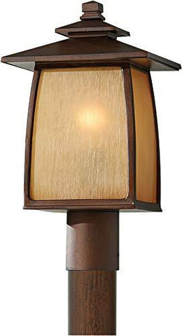 "Feiss OL8508SBR Wright House Outdoor Post Lighting, brown, 1-Light (9""W x 16""H) 100watts - llightsdaddy - Feiss - Outdoor Porch & Patio Lights"