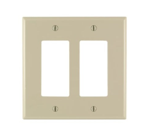 Leviton 86602 2-Gang Decora/GFCI Device Wallplate, Oversized, Thermoset, Device Mount, Ivory - llightsdaddy - Leviton - Lamp Post Mounts
