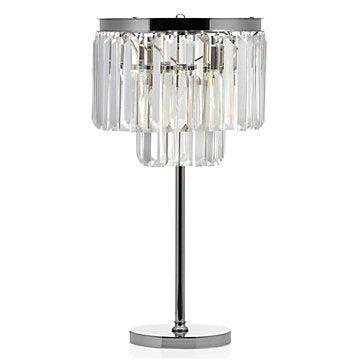 Table Lamp ,Crystal Nickel Plated Iron Frame Glass Fringe Luxe Crystal Table Lamp Bedroom Night Light (Nickel)