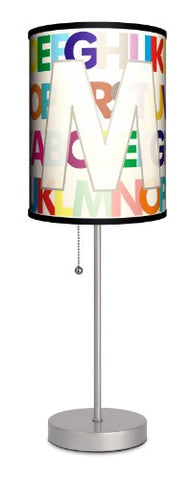 Monograms - Modern Letter M Sport Silver Lamp - llightsdaddy - Lamp-In-A-Box - Lamp Shades