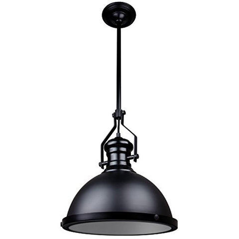 Sunlite 07044-SU Vintage-Style Single Dome Pendant Fixture, Medium Base Socket, for Tables and Countertops, Matte Black Finish