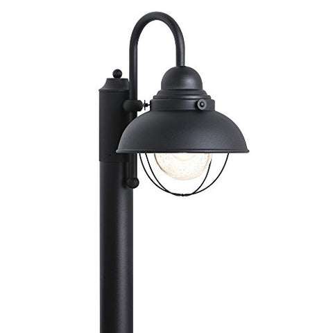 Sea Gull Lighting 8269-12 Sebring One-Light Outdoor Post Lantern with Clear Seeded Glass Diffuser, Black Finish - llightsdaddy - Sea Gull Lighting - Post Lights