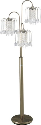 Milton Greens Stars A6866AB Sullivan Traditional Crystal Floor Lamp with 3-Way Switch, 62-Inch, Antique Brass