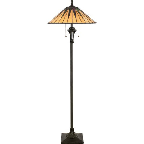 Quoizel TF9397VB 2-Light Gotham Floor Lamp, Medium, Vintage Bronze - llightsdaddy - Quoizel - Lamp Shades