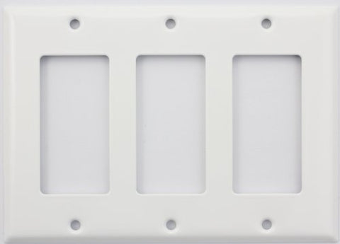 Stamped Steel Smooth White 3 Gang GFI/Rocker Switch Plate - llightsdaddy - Classic Accents - Wall Plates