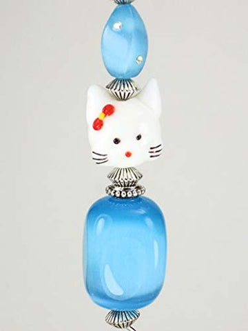 In Love with Kitty Cats Turquoise Blue Cat's Eye with Rhinestone and White Glass Cat Face Ceiling Fan Pull - llightsdaddy - Trace Ellements - Pull Chains
