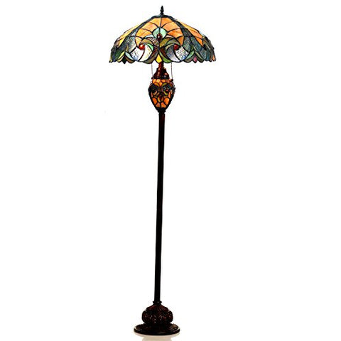 "Chloe Lighting CH18780VA18-DF3 Liaison Tiffany-Style Victorian 3-Light Double Lit Floor Lamp with 18"" Shade"