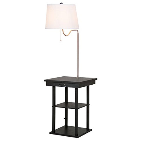 Floor Lamp Swing Arm Lamp Built In End Table w/Shade 2 USB Ports Living Room + FREE E - Book - llightsdaddy - Eight24hours - Outdoor Floor Lamps
