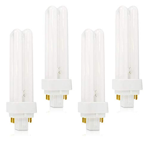 (4 pack) plc-18w 827, 4 pin g24q-2, 18 watt double tube, compact fluorescent light bulb, replaces sylvania 20683 and philips 38329-9 - pl-c 18w/827/4p/alto
