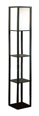 Wood Floor Lamps Square Etagere Floor Lamp Storage And Display Shelf 10.25 X 62.75 X 10.25 Inches Black - llightsdaddy - Catalina Lighting - Lamp Shades