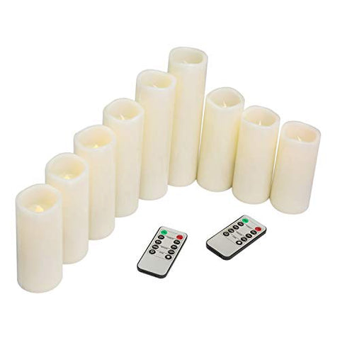 "Tiwax Flameless Candles LED Candle 9 Sets Ivory Pillar H 4""5"" 6""7"" 8""9"" Battery Remote Control Timer - llightsdaddy - Tiwax - Flameless Candles"