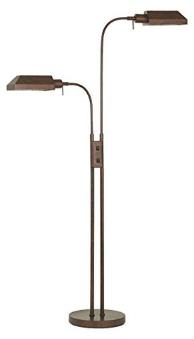 60W X 2 Pharmacy Dual Height Floor Lamp with On Off Rocker Switch - llightsdaddy - Cal - Floor Lamps