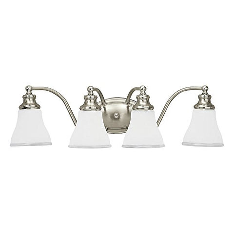 Sea Gull Lighting 40012-773 Alexandria Four-Light Bath or Wall Light Fixture with Clear Highlighted Satin Etched Glass Shades, Two Tone Nickel Finish - llightsdaddy - Sea Gull Lighting - Vanity Lights