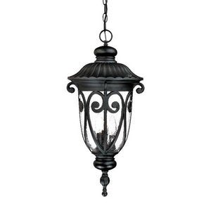 Acclaim 2126BK Naples Collection 3-Light Outdoor Light Fixture Hanging Lantern, Matte Black