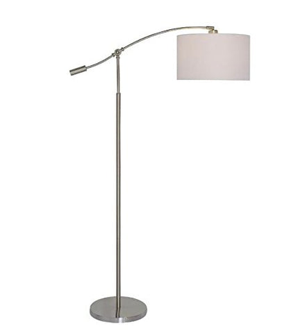 Hampton Bay 63.75 In. Brushed Steel Adjustable Height Arc Lamp - llightsdaddy - Hampton Bay - Lamp Shades